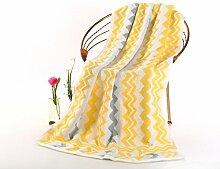 ZYJYhandtuch set geschenk wellenmuster reiner baumwolle handtuch handtuch 70 *, 140 cm,gelb