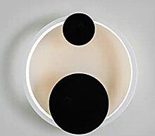 ZYLEDW Schwarze runde Wandleuchte Metall LED