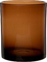Zylindrische Vase aus braun getöntem Glas H16
