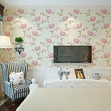 ZYONG*Moderne pastorale warmen Tapete Schlafzimmer mit Vliesstoff minimalistischen Wohnzimmer TV-Wand Papier Hintergrund Umwelt m Gelb