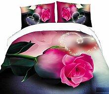 ZYT Bedtoppings Daunendecke Bettdecke Quilt Cover 4pcs Set Queen Größe Wohnung Blatt Kissenbezug 3D Zufallsmuster druckt Mikrofaser-Gewebe