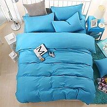 ZYT Bedtoppings Daunendecke Bettdecke Quilt Cover 4pcs Set Queen Größe flach Blatt Kissenbezug einfarbig reversibel Mikrofaser . queen