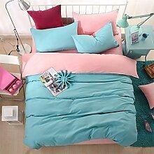 ZYT Bedtoppings Tröster Quilt Bettbezug gestellten 4pcs Queen Größe Wohnung Blatt Kissenbezug einfarbig Reversible Mikrofaser Stoff . queen