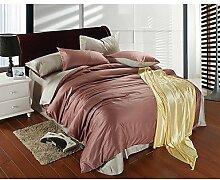 ZYT Doppelte Farbe reine Farbe Seide Bettwäsche vierteilige Anzug . cal king