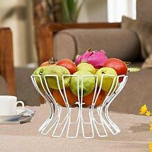 ZYT Eisen Obst Platte Mode kreative europäisches Obst Korb Obst Schüssel Süßigkeiten Snack Tablett Lagerung Geschirrablage . white