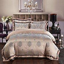 ZYT Elegante Luxus Seide Baumwolle Mischung Bettdecke decken Sets Königin König Größe Bettwäsche-Set . king