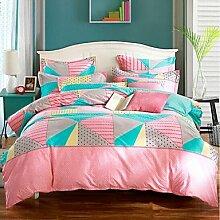 ZYT Geometrisch 4 Stück 1 Stk. Bettdeckenbezug 2 Stk. Kissenbezüge 1 Stk. Spannbetttuch . pink+blue . queen