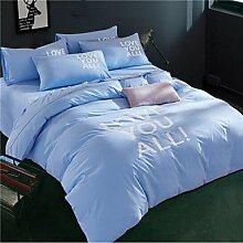 ZYT Geometrisch 4 Stück 1 Stk. Bettdeckenbezug 2 Stk. Kissenbezüge 1 Stk. Betttuch . light blue . queen