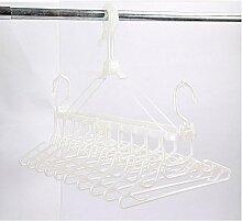 ZYT Kinder Kleiderbügel mit Kunststoff Lagerung Falten trocknen Multifunktions zehn racks . white
