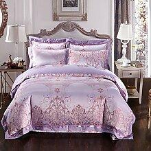 ZYT Lila Luxus Seide Baumwolle Mischung Bettbezug setzt Queen Kingsize-Bett Bettwäsche-Set . king
