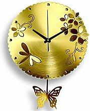 ZYT Schmetterling-Wanduhr . yellow