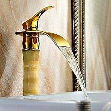 ZYT Wasserfall Stein Jade aus massivem Messing Kupfer Gold Steigerung Badezimmer Waschbecken Hebelmischer