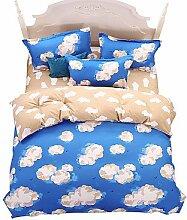 ZYT Wunderbare Himmelblau Cloud Bettwäsche-Sets 4PCS für volle Königin König Doppelgröße aus China Contian 1 Duvet Cover 1 Flatsheet 2 Kissenbezüge . queen