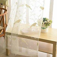 ZYY-Home curtain 2 Stück Voile Vorhang Stickerei
