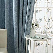 ZYY-Home curtain Baumwolle Leinen Blau Blickdichte