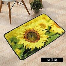 ZYZX Matte Fußmatte Fußmatte Wohn-und Schlafzimmer die Tür zum Bad Wasser rutschfeste Fußauflage 50*80cm Sonnenblumenöl