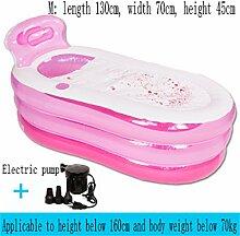 ZZ-Bathtub Aufblasbare Badewanne Dicker Halten Sie die Temperatur Erwachsene Kind Familie Badewanne Faltbare Bad Barrel Umweltschutzmaterial ( Farbe : Pink , größe : Electric pump-M )