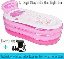 ZZ-Bathtub Aufblasbare Badewanne Dicker Halten Sie die Temperatur Erwachsene Kind Familie Badewanne Faltbare Bad Barrel Umweltschutzmaterial ( Farbe : Pink , größe : Electric pump-L )