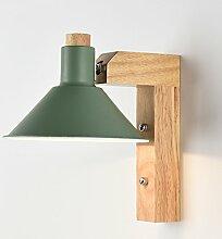 Zzapl Innen Wandlampen Moderne E27 Metall Schatten Hölzerne Wandleuchte Lichtrichtung Justierbare Nachtlichter Flur Gänge (Grün)
