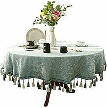 ZZFF Einfarbig Runde Tischdecke, Chenille Quaste