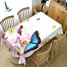 ZZHU Rosa Tischdecke mit Schmetterlingsmuster