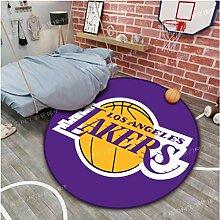 zzqiao Runder Teppich Cartoon Anime Lakers NBA