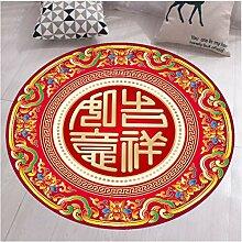 zzqiao Teppich Runde Teppich Chinesisches Glück