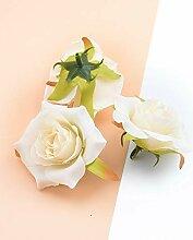 ZZQQ 10pcs 6cm Silk Rosen dekorative Blumen
