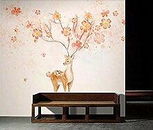 ZZXIAO Blumen Elch Seitenwand Tapete Elch für