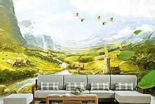 ZZXIAO Ölgemälde Alpen Seidentuch Tapete