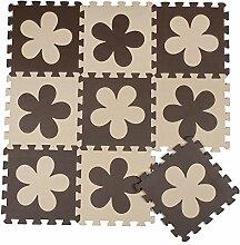ZZYY BG698 Spielmatte Puzzle 10 Stücke Beige and Braun Blumen Kinderspielteppich Baby EVA Schaumstoffmatte Aktivität Puzzlematte Spielteppich bodenpuzzle