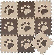ZZYY BG699 Spielmatte Puzzle 10 Stücke Beige and Braun Pfoten Kinderspielteppich Baby EVA Schaumstoffmatte Aktivität Puzzlematte Spielteppich bodenpuzzle