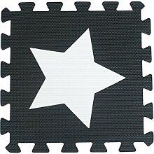 ZZYY Schwarz und weiß EVA Schaumstoffmatten Kinder Verriegelt Spielmatte Puzzle - Baby Kriechende Matten Weiche Spielmatten - 31,5 x 31,5 x 1cm Umweltfreundlich (30 Stücke, Schwarz und Weiß Sterne)