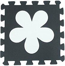 ZZYY Schwarz und weiß EVA Schaumstoffmatten Kinder Verriegelt Spielmatte Puzzle - Baby Kriechende Matten Weiche Spielmatten - 31,5 x 31,5 x 1cm Umweltfreundlich (30 Stücke, Schwarz und Weiß Blumen)