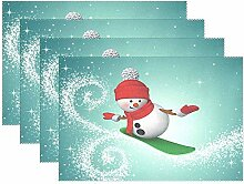 zzzswbl Platzsets Schneemann Snowboarden