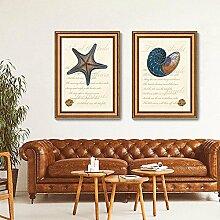ZZZSYZXL 2 Satz Sofa Hintergrund Rahmen Malerei Wohnzimmer Schlafzimmer Nachtwandmalerei - Seestern , gold , 35*50cm
