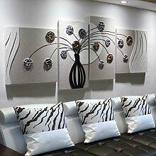 ZZZSYZXL Einfache Hand bemalt plastisches Relief Leder Malerei 5pcs Wohnzimmersofa Hintergrund dekorative Malerei , 1