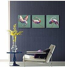ZZZSYZXL Gerahmte Dekoration Malerei Flamingo 3pcs Wohnzimmer-Sofa Wandmalerei , 70x70