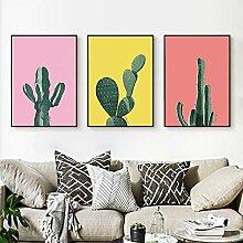 ZZZSYZXL Kleine frische Dekoration Malerei Wohnzimmer modernen minimalistischen 3 Sätze von Wandmalereien - Kaktus , b , 35*50cm