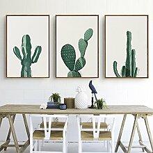 ZZZSYZXL Kleine frische Dekoration Malerei Wohnzimmer modernen minimalistischen 3 Sätze von Wandmalereien - Kaktus , a , 50*70cm