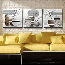 ZZZSYZXL Retro dekorative Malerei die Wohnzimmer TV Kulisse rahmenlos Wandmalereien 3pcs , d