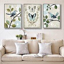 ZZZSYZXL Retro dekorative Malerei Zwei Vögel 50 * 70cm 3 Stück Restaurant Cafe Wand , A