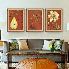 ZZZSYZXL Rustikale Wohnzimmer Wandbilder 3 Sätze Esszimmer klassische Vogelmalerei , gold , 35*50cm