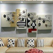 ZZZSYZXL Sofa Hintergrund rahmenlos dekorative Malerei dreidimensionale Relief Wandmalereien 4pcs
