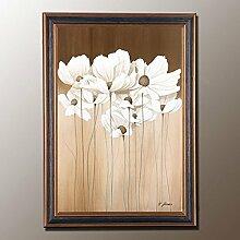 ZZZSYZXL Weiße Blumen Eingang dekorative Malerei Schlafzimmer Kopfteil Videos , b