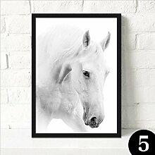 ZZZSYZXL White Horse moderne Dekoration Malerei Wohnzimmer Büro Studie Wandbilder , 5