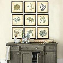 ZZZSYZXL Wohnzimmer Dekorative Malerei 9 Sets Marine Coral Foto Wandgemälde