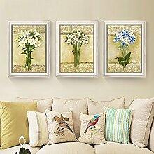 ZZZSYZXL Wohnzimmer Esszimmer Dekorative Malerei 3-teilig Schlafzimmer Wände Sofa Hintergrund Mural , white , 35*50cm