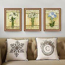 ZZZSYZXL Wohnzimmer Esszimmer Dekorative Malerei 3-teilig Schlafzimmer Wände Sofa Hintergrund Mural , gold , 43*60cm