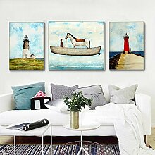 ZZZSYZXL Wohnzimmer moderne einfache Wandmalerei Kinderzimmer 3 Sätze von kreativen Landschaft Schlafzimmer Malerei , 50*50